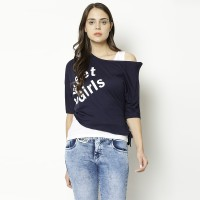 V2 Retail Limited Party Cold Shoulder Printed Women Dark Blue Top