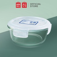 MINISO Round High Borosilicate Glass Air Tight PP Lid Food Container, 640ml, White