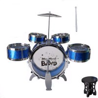 Trade Zone Jazz Drum Set Big Size Musical Drum Set with 5 Drums, Cymbal and Chair Musical Toy Colour As per Available(Blue)