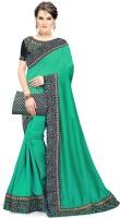 Trijal Fab Embroidered Bollywood Pure Silk Saree(Dark Green)