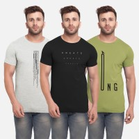 BULLMER Printed Men Round Neck Multicolor T-Shirt(Pack of 3)