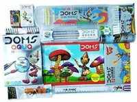 1 DOMS GROOVE TRIANGEL PENCIL PACK + 1 DOMS DRAWING BOOK + 1 DOMS OIL PASTEL (25 SHADES) + 1 DOMS JUMBO EACH COMBO PACK CONTAINS-WAX CRAYONS (12 SHADES) + 1 DOMS AQUA WATER COLOUR PENCILS (12 SHADES) + 1 DOMS WATER COLOUR PENS (12 SHADES) + 1 DOMS ERASABLE PLASTIC CRAYONS (14 SHADES) + 1 DOMS DUSTLE