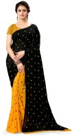Anand Sarees Polka Print Daily Wear Georgette Saree(Yellow)