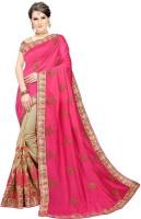 Trijal Fab Embroidered Bollywood Silk Blend Saree(Pink)