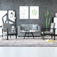 FURNITURE MAMA Adige Fabric 2 + 1 + 1 Grey & Black Sofa Set