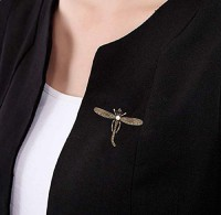 STRIPES Special Dress Decoration Dragonfly Design Crystal and Pearl Bronze Color Coat For Unisex Brooch(Bronze)