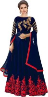 Sixteen Creation Satin Embroidered, Embellished Gown/Anarkali Kurta & Bottom Material(Semi Stitched)