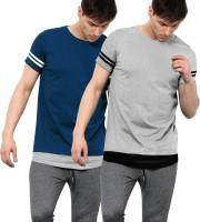 Maniac Solid Men Round Neck Dark Blue, Grey T-Shirt(Pack of 2)