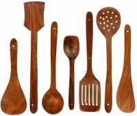Manzees Wooden serving and cooking spoons Wooden Cooking and Serving spoons ( set of 7 ) Brown Kitchen Tool Set(Brown)