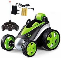 PS Aakriti Remote Control Stunt Car Vehicle 360°Rotating Rolling Radio Control Electric Racing Car (Green)(Multicolor)