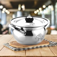 RBGIIT Stainless Steel Handi Set Mirror Finish Apple Biryani/Seving/Cooking/Bowl Handi with Lid and Steel Knob (1.5 L, Silver, 18 cm) Serve Casserole(1500 ml)