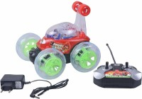 OUD 3D Flashing Light Big Size 360 Degree Rotating Stunt Remote Control Car with Disco Light Car for Kids Doremon, Angry Bird and Ben 10 Style (Multicolor)