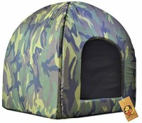 FOODIE PUPPIES Soft & Light Weight Designer Luxurious Foldable Pet Tent Kennel Den House for Puppies & Dogs (Army Print Den House, 50cm X 50cm X 55cm) Dog, Cat House