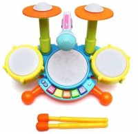 Mt hub Kids Drum Set, Drum Set for Kids Electric Toys Toddler Musical Instruments Playset Flash Light Toy with Adjustable Microphone Drum (Multicolor)(Multicolor)