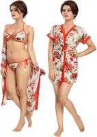 SSoShHub Women Robe and Lingerie Set(Red, White)