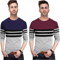 FastColors Solid Men Round Neck Blue, Maroon, Grey T-Shirt(Pack of 2)