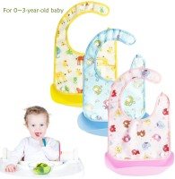 Baby Food Bib, Baby Bibs Waterproof Silicone, Burp Cloths, Baby Bibs with Food Catcher for Babies, Soft & Adjustable Fabric Neck, Detachable Tray, Easily Wipe Clean, 0-3 Years Old
