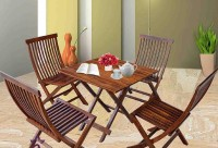BrookWood Sheesham Folding Dining Set Solid Wood 4 Seater Dining Set(Finish Color - Honey Finish)