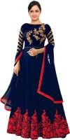 R&H COMAPANY Satin Embroidered, Solid Gown/Anarkali Kurta & Bottom Material(Semi Stitched)