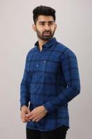 Surhi Men Checkered Casual Blue Shirt