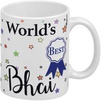 Wagwan Happy Birthday Gift for Brother World's Best Bhai Rakhi Gift, Raksha Bandhan Gifts MG20568 Ceramic Coffee Mug(350 ml)