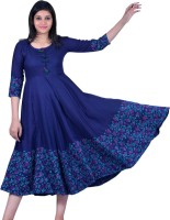 VELLE Women Solid Anarkali Kurta(Blue)