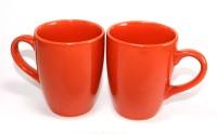 Designo Prints Plain Candy Red Ceramic Coffee Mug(325 ml, Pack of 2)
