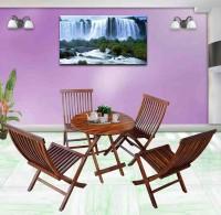 BrookWood Sheesham Patio Folding Dining Set Solid Wood 4 Seater Dining Set(Finish Color - Honey Finish)