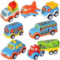 Wishkey Unbreakable Power Friction Pull Back, Push and Go Car,Crawling Vehicle Toy for Kids - Set of 7(Multicolor, Pack of: 7)