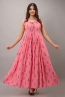 Myaza Women Paisley Gown Kurta(Pink)