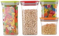 OMORTEX® 4 Pc Kit Kat Container Plastic Air Tight Unbreakable Square Storage Box