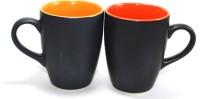 Designo prints Red & orange combo mug set Ceramic Coffee Mug(325 ml, Pack of 2)