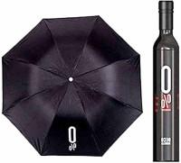 BHOOMI ENTERPRISE Fancy Stylish Bottle Umbrella for Women & Men | Unique UV Coated Umbrella for UV, Sun, Rain and Wind | Outdoor Double Layer Printed Umbrella with Attractive Wine Bottel Cover Umbrella(Black)