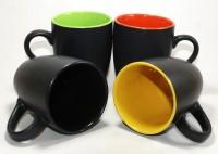 Designo prints Black with multicolor mug set Ceramic Coffee Mug(325 ml, Pack of 4)