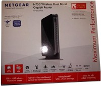 NETGEAR WNDR4000 N750 Dual Band Gigabit Wireless Router 100 Mbps Router(Black, Single Band)