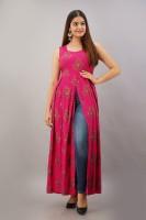 Shobhangi Women Floral Print Frontslit Kurta(Pink)