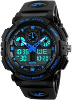 Skmei Analog Digital Skmei Analogue Digital Black Dial Black Strap Watch for Men Analog-Digital Watch  - For Men
