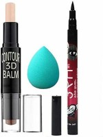 Sheny Highlighter and Contour Stick Highlighter (cream) , Anti-Microbial Latex-Free Beauty Blender Makeup Sponge and Precision Liquid Waterproof Lash Eyeliner Pencil (Black)(3 Items in the set)