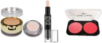 Sheny 2 IN 1 Primer & Concealer Oil Free Long Lasting Base Concealer (Natural Beige, 9 g) and Highlighter and Contour Stick Highlighter (cream)with Face Stylist Blush Duos, Rose Blush(3 Items in the set)