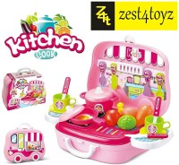 Zest 4 Toyz Role Play Kitchen Playset Toy Kids Pretend Cooking Kit Food Pink Set Xmas Gift for Children 3 Years Old