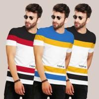 TRIPR Color Block Men Round Neck Multicolor T-Shirt(Pack of 3)