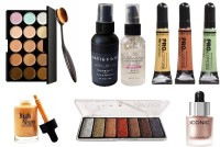 Sheny Beauty 15 Colors Contour Face Cream Makeup Concealer Palette + Oval Make up Brush + Fixing Spray For Makeup 01 Matte Finish, Clear, 60 ml + Skin Illuminating Oil-Free and Pore Filler Gel Primer + Pro Conceal Concealer (Orange, Yellow, Green, 8 g Each) + HIGH BEAM LIQUID ROSE GOLD Highlighter (