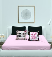 BROMWICK 180 TC Microfiber Double King Solid Bedsheet(Pack of 5, Pink, Black)