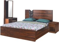 @home by Nilkamal Engineered Wood Bed + Side Table + Dressing Table(Finish Color - Walnut)