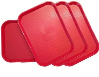 Everbuy Plastic Serving Tray Platter Rectangular Shape Plastic Trays for Drink Breakfast Tea Dinner Coffee Salad Food for Dinning Table Home Tray(4 Tray)