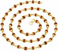 Zumrut Gold Plated Panchmukhi Rudraksha Handmade Mala Beads Chain with Golden Cap Religious Pendant Necklace Spiritual Jewellery for Men/Women Gold-plated Brass Pendant