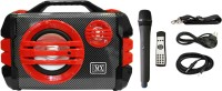 MX 6.5 Inches Portable Multimedia Speaker With Built-in Amplifier Battery Bluetooth Usb Radio Fm Sd Card Aux Input & Wireless Microphone Remote 3706-5 Red Indoor, Outdoor PA System(50 W)