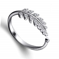 University Trendz University Trendz Silver Plated Adjustable Leaf Ring for Women's and Girls Alloy Crystal Silver Plated Ring