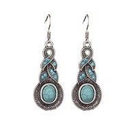 MadnMod MadnMod Cute Blue Color Natural Stone Drop Earrings For Women Long Butterfly Owl Turquoises Charm Pendants Earrings Jewelry Turquoise Metal Drops & Danglers