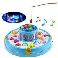 Kidz World Electronic Fish Catching Game Musical Activity with 26 Fishes 4 Pods with Sound and Light Function Toys for Kids(Blue)